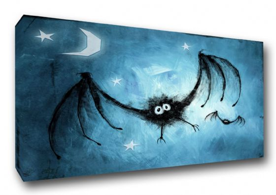 Bats in the Moonlight at Night. Children's Art Canvas. Sizes: A3/A2/A1